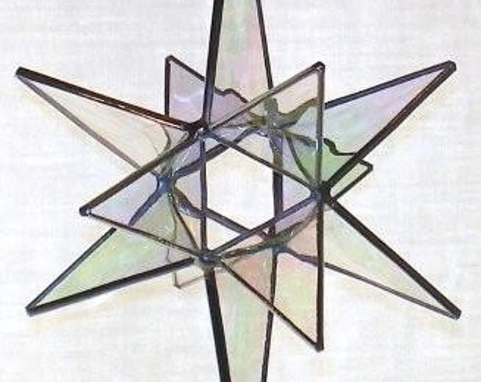 """3D Hanging Stained Glass Moravian Star, 12 point, white glass - 5"""" x 8"""""""