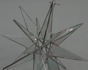 """Tree Topper - 3D Stained Glass Moravian Star (8 1/4"""" or 10""""), Christmas Star Ornament, Clear Iridescent Glass, 18 Point, Stars, Gift"""