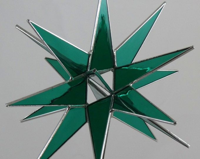 3D Hanging Stained Glass Moravian Star, Christmas Star Ornament, Teal Glass, 18 Point, Hanging Ornament, Stars, Gift, Wedding