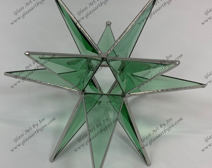 3D Hanging Stained Glass Moravian Star, Christmas Star Ornament, Bevel Glass, 12 Point, Hanging Ornament, Stars, Gift, Wedding