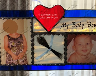 PLEASE read the description: Stained Glass Keepsake, Memorial, Haircut, Lock of hair, Wedding, Gift, Photo, First Haircut, Dog Grooming