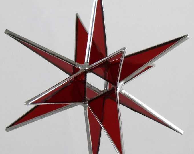 3D Hanging Stained Glass Moravian Star, Christmas Star Ornament, Red, Glass, 12 Point, Hanging Ornament, Stars, Gift, Wedding