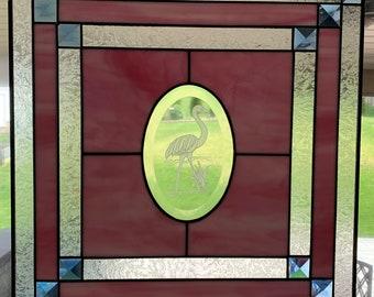 Stained Glass Panel, Flamingo, Florida, Bevel Glass, Panel, Glass, Etched Glass