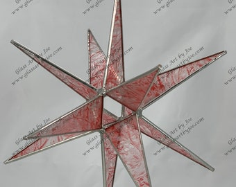 3D Hanging Stained Glass Moravian Star, Christmas Star, Ornament, Red Glue Chip Glass, 12 Point, Stars, Gift, Wedding, Hand Painted