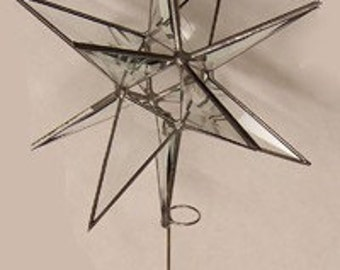 Tree Topper - 3D Stained Glass Moravian Star, Christmas Star, Clear Bevel Glass, 12 Point, Stars, Gift, Ornament