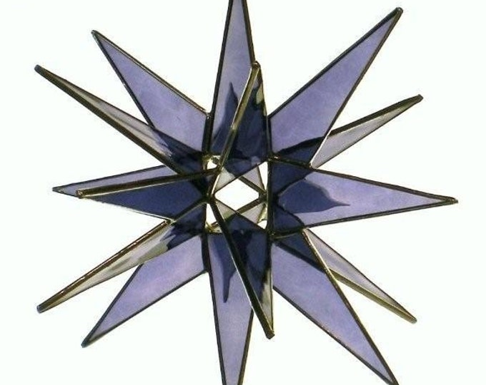 3D Hanging Stained Glass Moravian Star, Christmas Star Ornament, Purple Glass, 18 Point, Hanging Ornament, Stars, Gift, Wedding