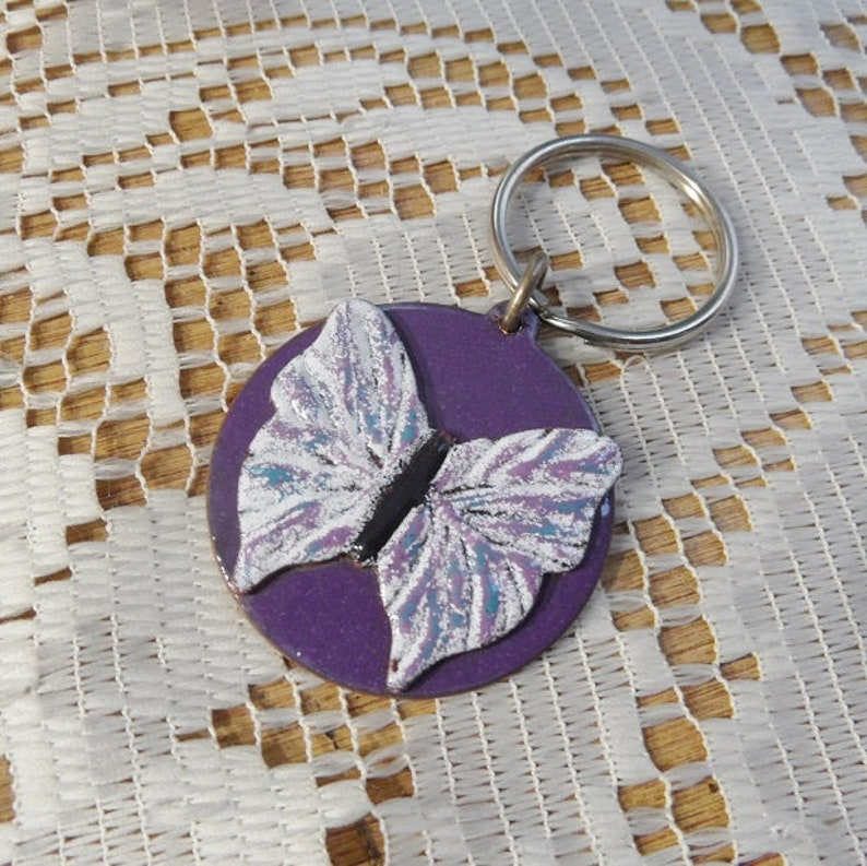 Butterfly Keychain Copper Enameled butterfly key ring purple and blue and white butterfly