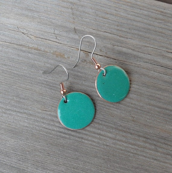 Earrings Copper enameled earrings round drop spurce green