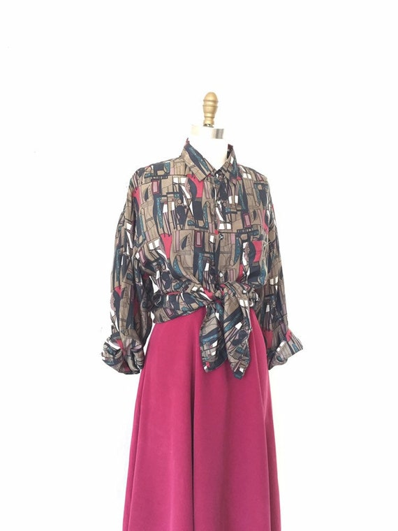Abstract print shirt, Sz M, Oversized silk shirt,