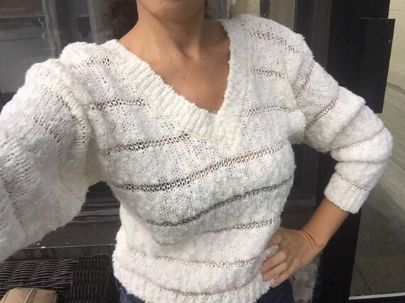 White Knit Sweater, Sz Small, Knit Top Women xs, w