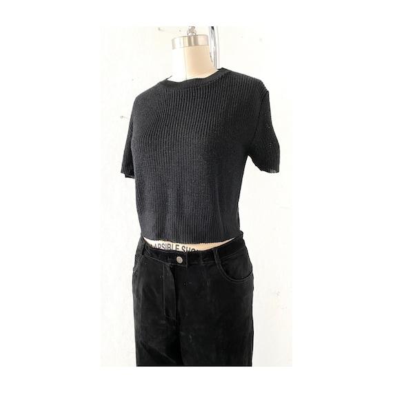 Black knit Top, SZ L, Rayon Crop Top, Short sleeve