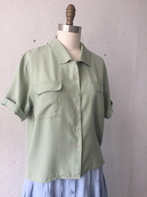 Solid  Green Silk Blouse, pistachio green shirt, … - image 3