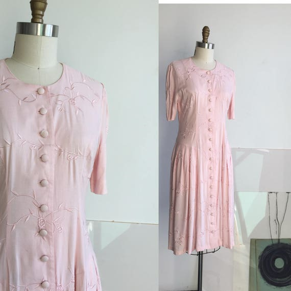 Pink Embroidery Dress, Embroidered Dress, Pink Flo
