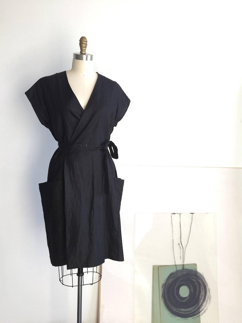 Side Pockets Dress Handmade Linen Wrap Dress LBD Dresses made to order Linen Dresses for Women Linen kimono Dress Natural Linen Dress