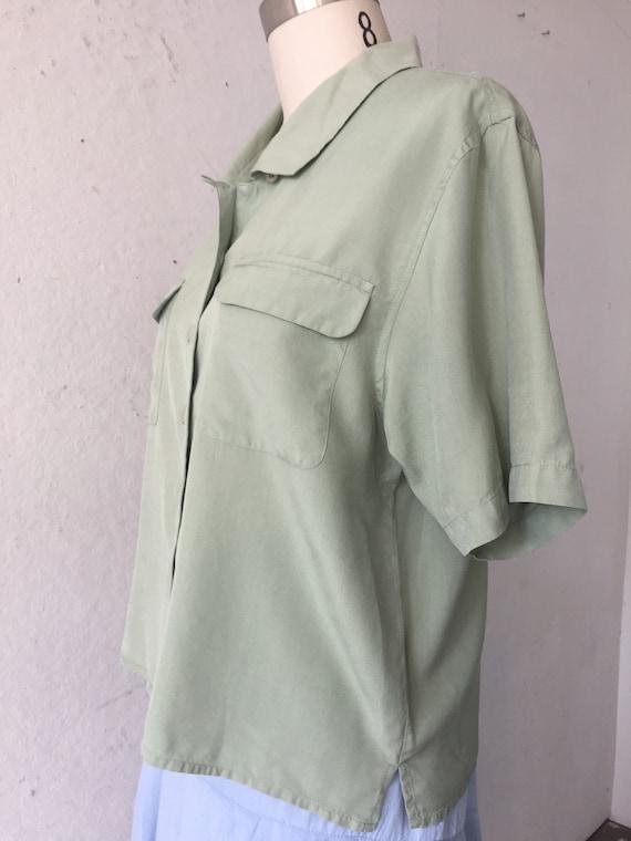 Solid  Green Silk Blouse, pistachio green shirt, … - image 6