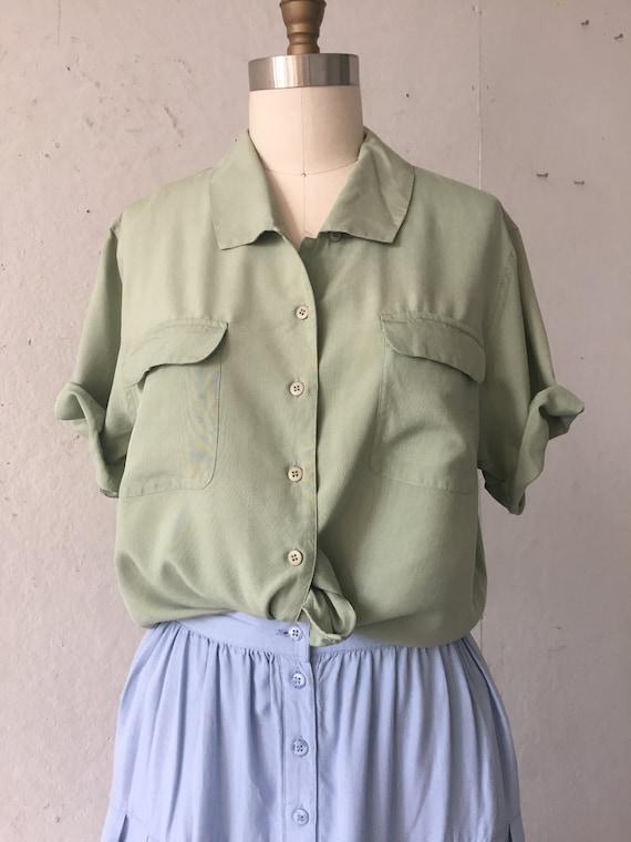 Solid  Green Silk Blouse, pistachio green shirt, … - image 7