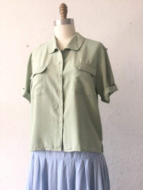 Solid  Green Silk Blouse, pistachio green shirt, … - image 4