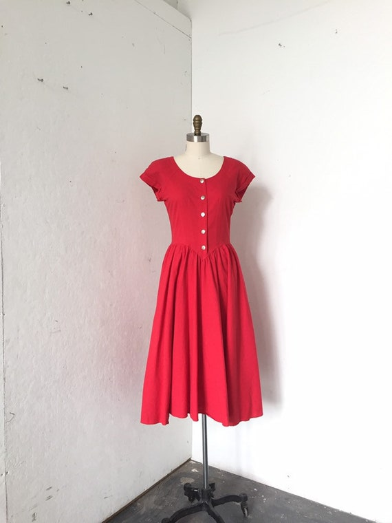 Red dress SZ 8, Cotton red dress, Button front dre