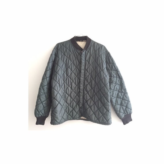 Quilted jacket Green,SZ L, Vtg Military quilted ja