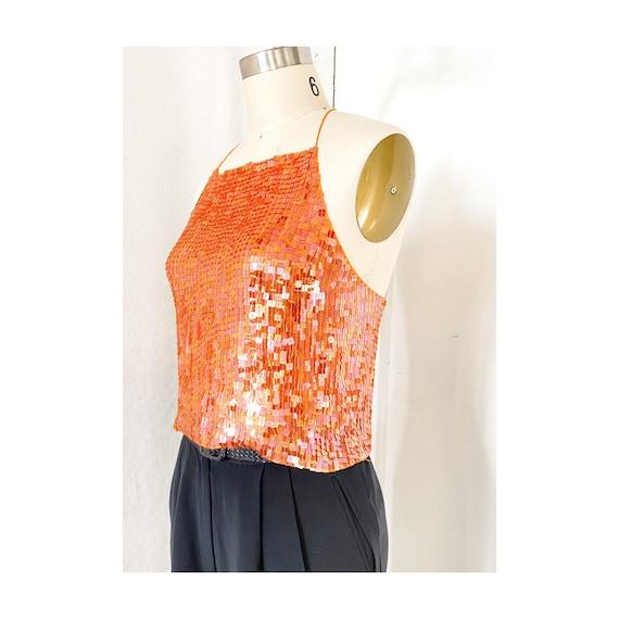 Orange Sequin Halter Top, Vtg DKNY Silk, Halter To