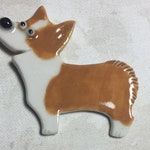 Dog Porcelain Pin Corgi Ceramic Tile Brooch