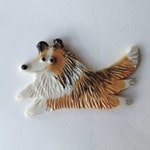 Ceramic Dog Pin Collie Rough Smooth Porcelain Tile Brooch Made to Order