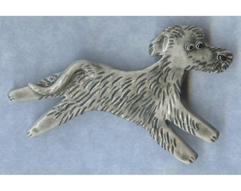 Irish Wolfhound Porcelain Ceramic Tile or Brooch Pin