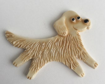 Golden Retriever Ceramic Porcelain Dog Tile or Brooch Pin