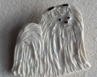 Maltese Porcelain Ceramic Tile or Brooch Pin