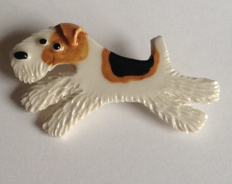Wire Fox Terrier Ceramic Porcelain Dog Tile or Brooch Pin