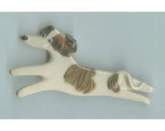 Greyhound Porcelain Ceramic Tile or Brooch Pin