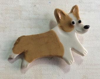Pembroke Welsh Corgi Porcelain Ceramic Dog Tile or Brooch Pin