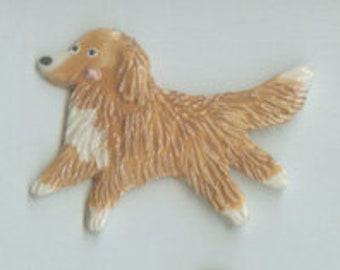 Nova Scotia Duck Tolling Retriever Elkhound Porcelain Ceramic Tile or Brooch Pin