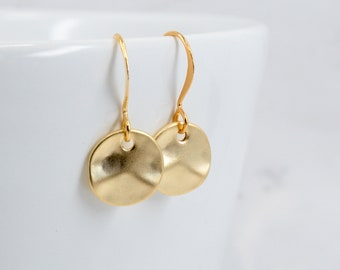 Tiny Matte Gold Earrings - Hammered Gold Earrings - Small Drop Earrings - Small Hammered Gold Earrings - Tiny Earrings - Everyday Earrings