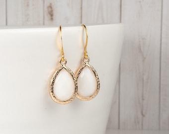 White Teardrop Earrings - White Gold Drop Earrings - White Earrings - Simple Earrings - Bridesmaid Earrings - Wedding Jewelry - Jewelry Gift