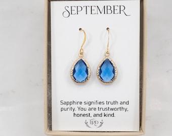 September Birthstone Earrings - Sapphire Gold Earrings - September Earrings - September Jewelry - Birthstone Jewelry - September Gift