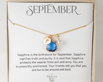 Personalized September Birthstone Necklace - Sapphire Gold Necklace - September Birthstone Jewelry - September Necklace - Birthday Gift