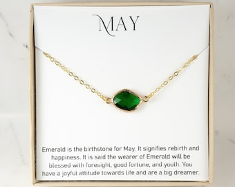 May Birthstone Necklace - Emerald Gold Necklace - May Birthday Jewelry - May Necklace - Birthstone Jewelry - May Jewelry - Jewelry Gift