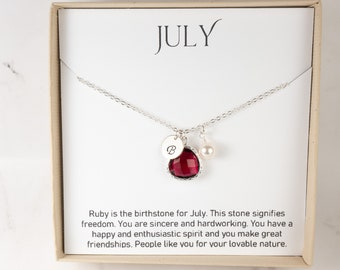 Personalized July Birthstone Necklace - Ruby Silver Necklace - Personalized Silver Necklace - July Necklace - July Jewelry - Birthday Gift