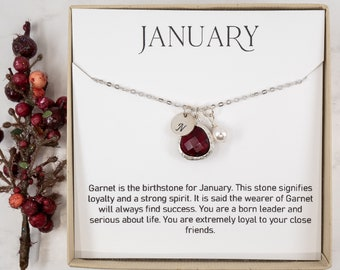 Personalized January Birthstone Necklace - Garnet Silver Necklace - Personalized Silver Necklace - January Necklace - Birthstone Jewelry