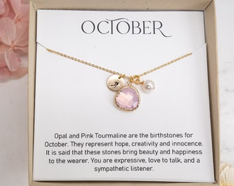 October Birthstone Necklace - Personalized Necklace - Pink Opal Gold Necklace - October Necklace - October Jewelry - Personalized Jewelry