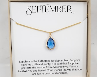 September Birthstone Necklace - Sapphire Teardrop Necklace - September Jewelry - Bridesmaid Gift - September Necklace - Sapphire Necklace