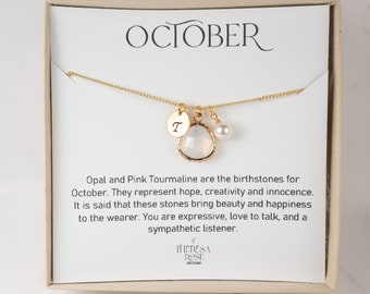 Personalized October Birthstone Necklace - White Opal Gold Necklace - October Jewelry - Personalized Gift - Personalized Necklace For Mom