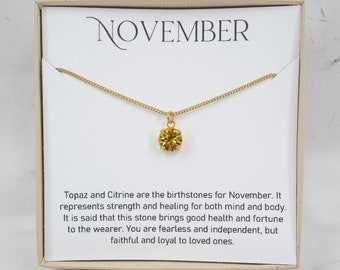 November Birthstone Necklace - Tiny Topaz Swarovski Necklace - November Birthday Jewelry - November Necklace - November Birthstone Jewelry