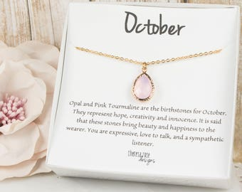 October Birthstone Teardrop Gold Necklace, Pink Opal Necklace, October Birthday Jewelry, Personalized Gold Necklace, Birthday Gift