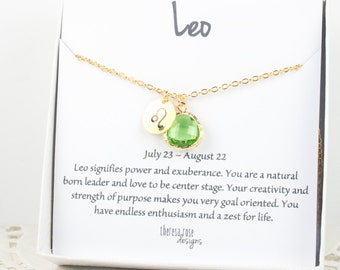 Leo Zodiac Gold Necklace, Leo August Necklace, August Birthday Jewelry, August Birthday Gift, Zodiac Necklace, Astrology Gold Necklace