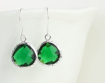 May Birthstone Emerald Silver Earrings, Emerald Silver Dangle Earrings, Silver Earrings, May Birthday Gift, Bridal Earrings [#794]