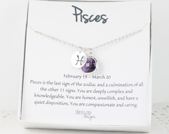 Pisces Zodiac Silver Necklace, Pisces February Necklace, February Birthday Jewelry, Zodiac Necklace, Astrology Silver Necklace