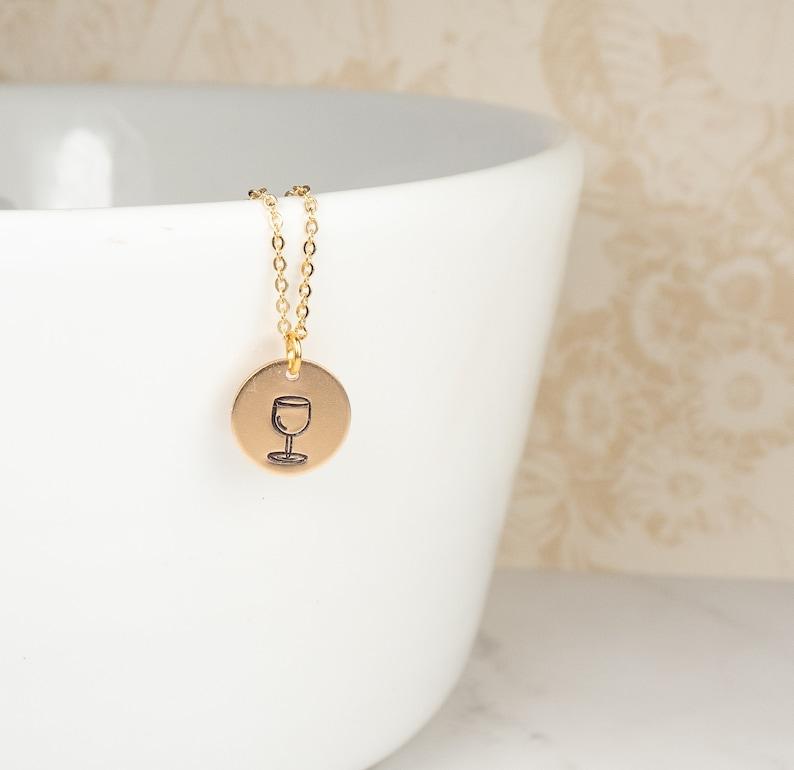 Summer Jewelry Wine Necklace Gold Wine Glass Necklace Minimalist Jewelry Dainty Gold Necklace Layering Necklace Boho Jewelry