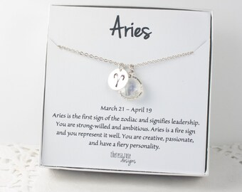 Aries Zodiac Silver Necklace, Aries April Necklace, April Birthday Jewelry, Zodiac Necklace, Astrology Silver Necklace